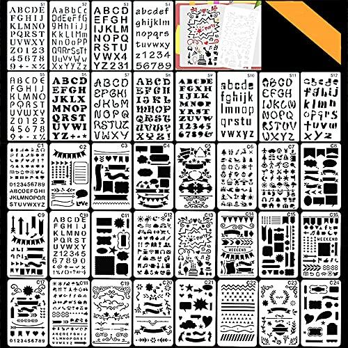 Bullet Journal Plantillas de Dibujo, Bst4UDirect NúMero De Letra y Plantilla De PatróN Para Cuaderno, Diario, Pintura De áLbum De Recortes, Accesorios Para Manualidades