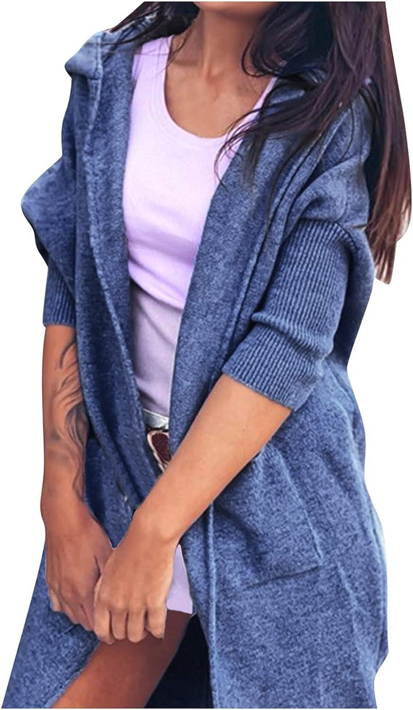 Women's Hooded Cardigan Trendy Long Open Front Long Sleeve Knitt