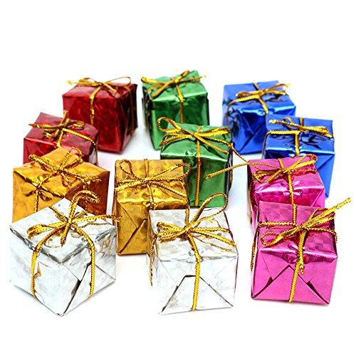 Fine Square Small Boxes, Mini Glistening Foam Gift Box Miniature Foil Paper Wrapped Miniature Boxes Ornaments for Christmas Tree Decorations (Multicolor)
