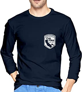 CRISLEEVE Cal FIRE Logo California Strong Men's Long Sleeve Shirt T-Shirt Tee Casual Workout Tshirts