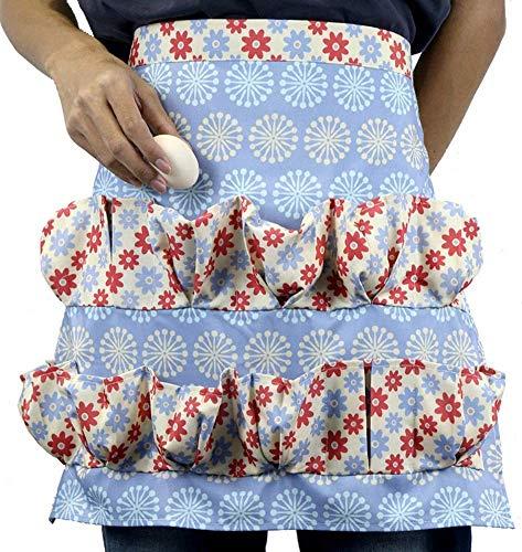 SSB Delantal de recolección de huevos de gallina con 12 bolsillos, delantal de algodón vintage, accesorios para gallinero para adultos y niños, para recoger huevos J 51 x 46 cm