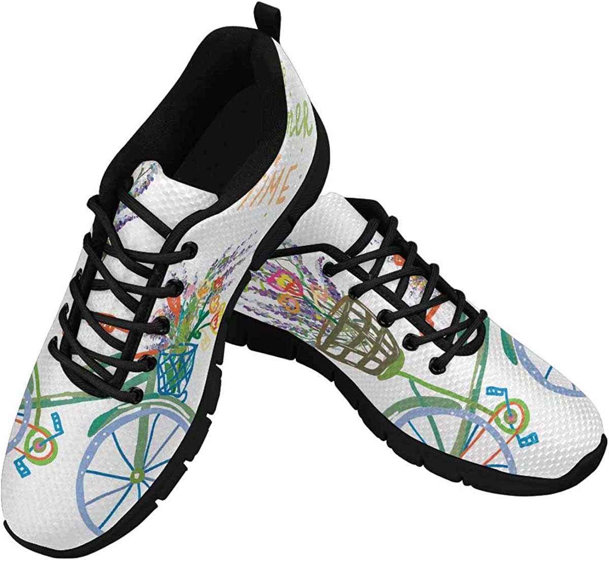 InterestPrint Happy Summer Time with Bicycle Women Walking Shoes Comfortable Lightweight Work Casual Travel Sneakers