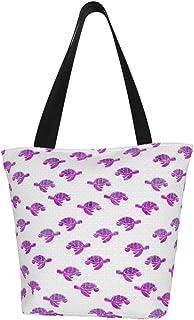 Lesif Einkaufstaschen, Meeresschildkröte, lila, Segeltuch, Einkaufstasche, wiederverwendbar, faltbar, Reisetasche, groß und langlebig, robuste Einkaufstaschen