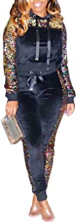 Women's Velour Tracksuit Set Sequin 2 Piece Outfit Long Sleeve Hoodie and Pants Sweatsuit