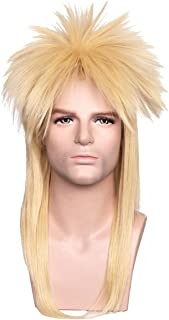 ColorGround Long Straight Blonde 80s Rocker Style Wig for Men