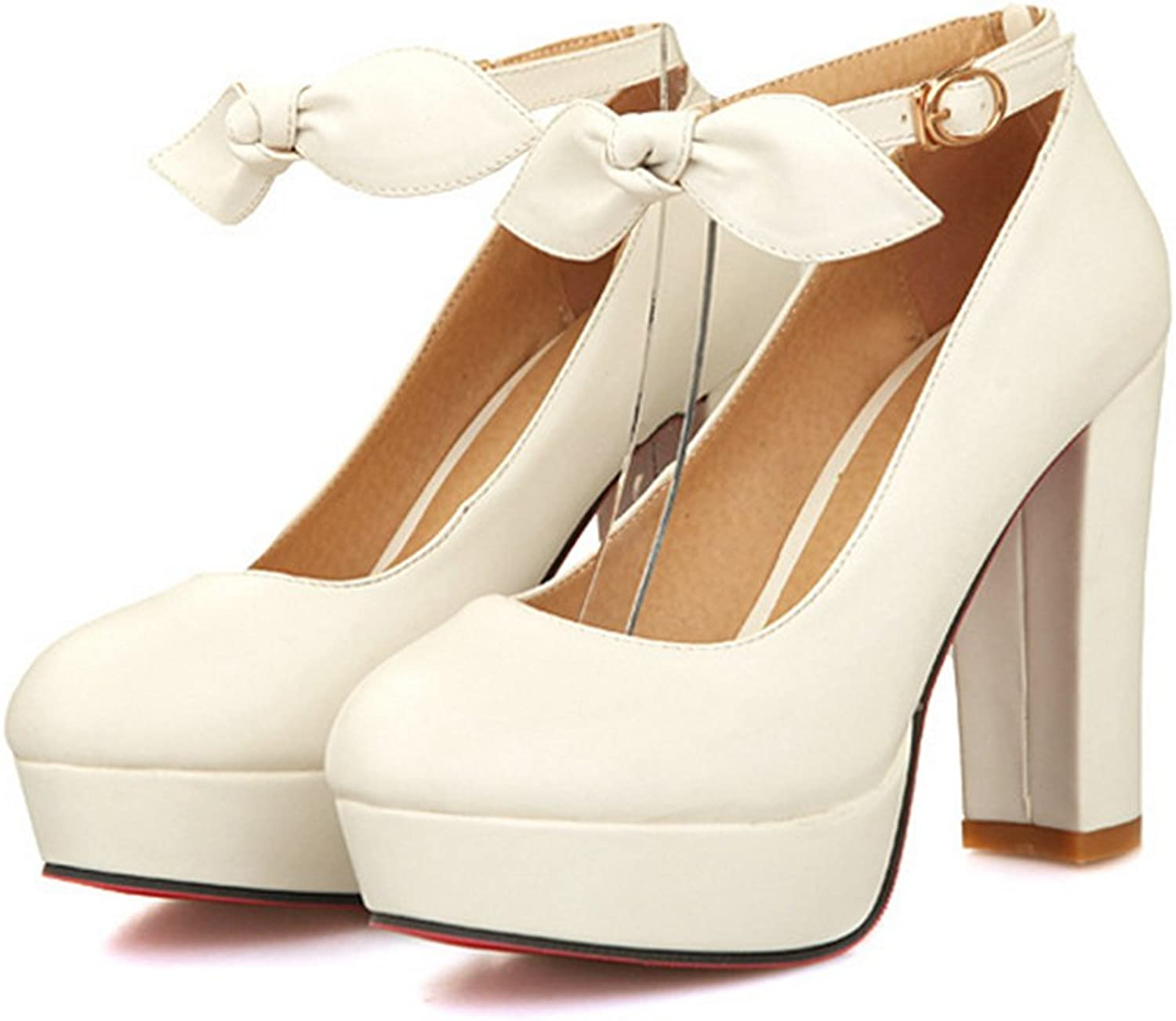 Super High Heel Women Thin shoes Platform Buckle Round white 39