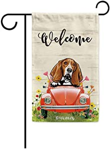 MALIHONG Welcome Dog Garden Flag Peeking Dog Basset Hound in Red Retro Car Surrounding with Flowers Spring Summer Banner for Home Decor 12.5 x 18 Inch