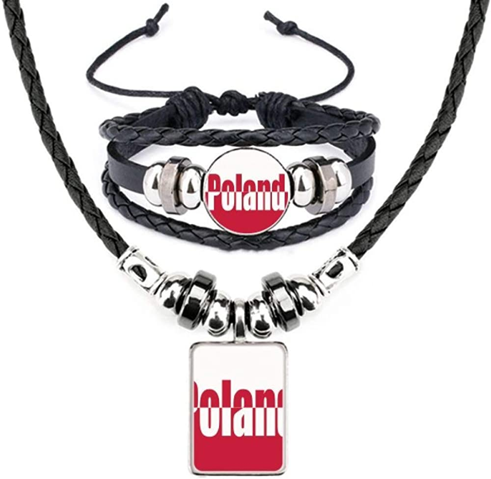 Poland Country Flag Name Art Deco Gift Fashion Leather Necklace Bracelet Jewelry Set