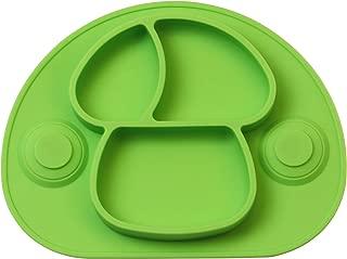 Irypulse Bebé Niños Plato Silicona Con Fuerte Succión Ventosa Divididas Bandeja Placemat Grado Alimenticio Infantil Antideslizante FDA y Sin BPA-Verde