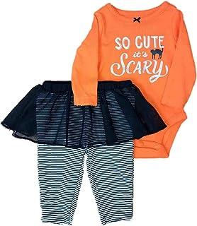 Carter's Baby Girls' 2-Piece Halloween Bodysuit and Tutu Pant Set (Orange/Black, 18 Months)