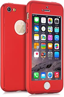 NOKEA iPhone 5S Case, iPhone 5 Case, iPhone SE Case, 360 Ultra Thin Full Body Coverage Protection Premium Matte Finish Dual Layer Hard Case Cover & Skin for Apple iPhone 5 5S SE (4.0-inch) (Red)