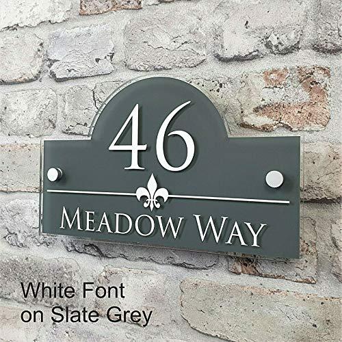 Números y placas de dirección Las placas Personalizar personalizada Placas & House Dirección Número muestras de la puerta y nombre de la propiedad (Color : Gray, Size : 150x250mm)