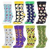 BONANGEL Calcetines Estampados de las Mujeres, Mujeres Ocasionales Calcetines Divertidos Impresos de Algodón de Pintura Famosa de Arte Calcetines, Calcetines de Colores de moda (8 Pares-Donut2)