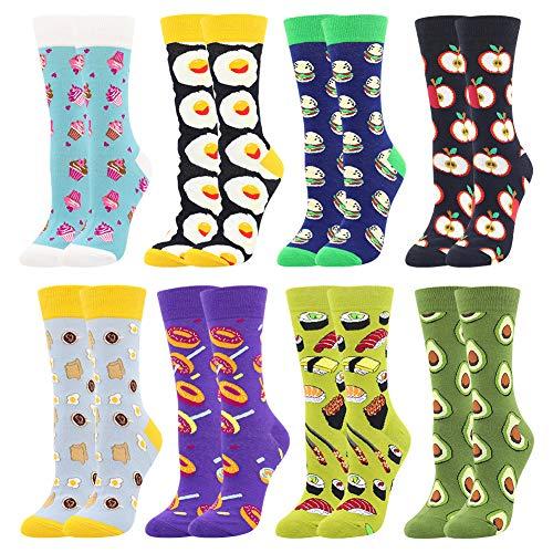 BONANGEL Damen Lustige Bunte Socken,Mädchensocken witzige Strümpfe, Fun Gemusterte Muster Socken, Verrückte Socken Modische Oddsocks Mehrfarbig Klassisch als Geschenk, Neuheit Sneaker (8 Paar-Donut2)
