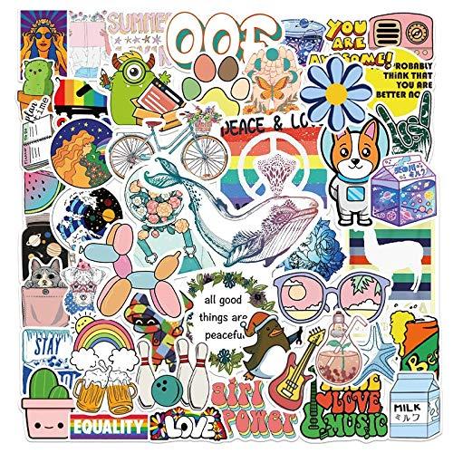 BUCUO Pequeñas Pegatinas Frescas y Bonitas de Dibujos Animados batería Coche Equipaje portátil Termo Taza Funda para teléfono móvil Pegatinas Impermeables 50 Uds