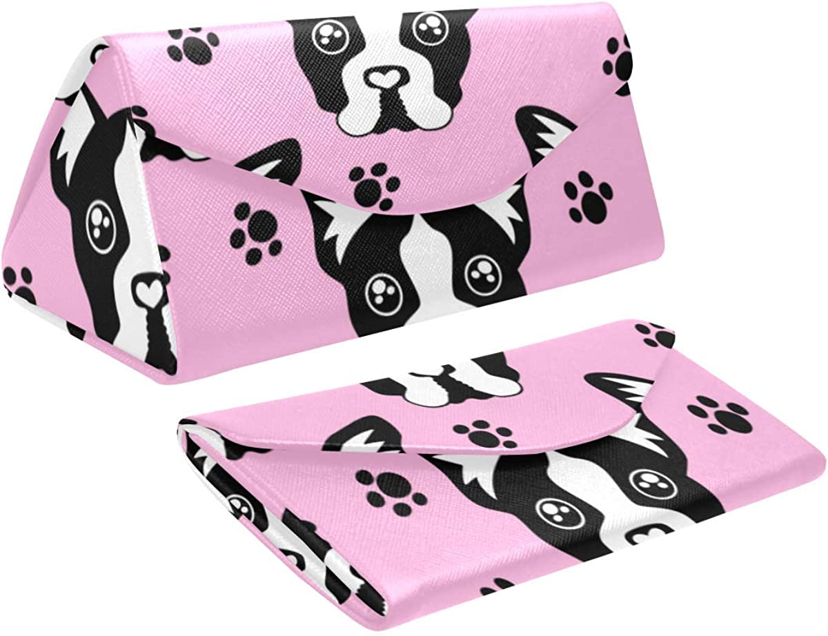 Eyeglass Cases Custom Cute pink dog face Painted Hard Shell Foldable Portable Glasses Case