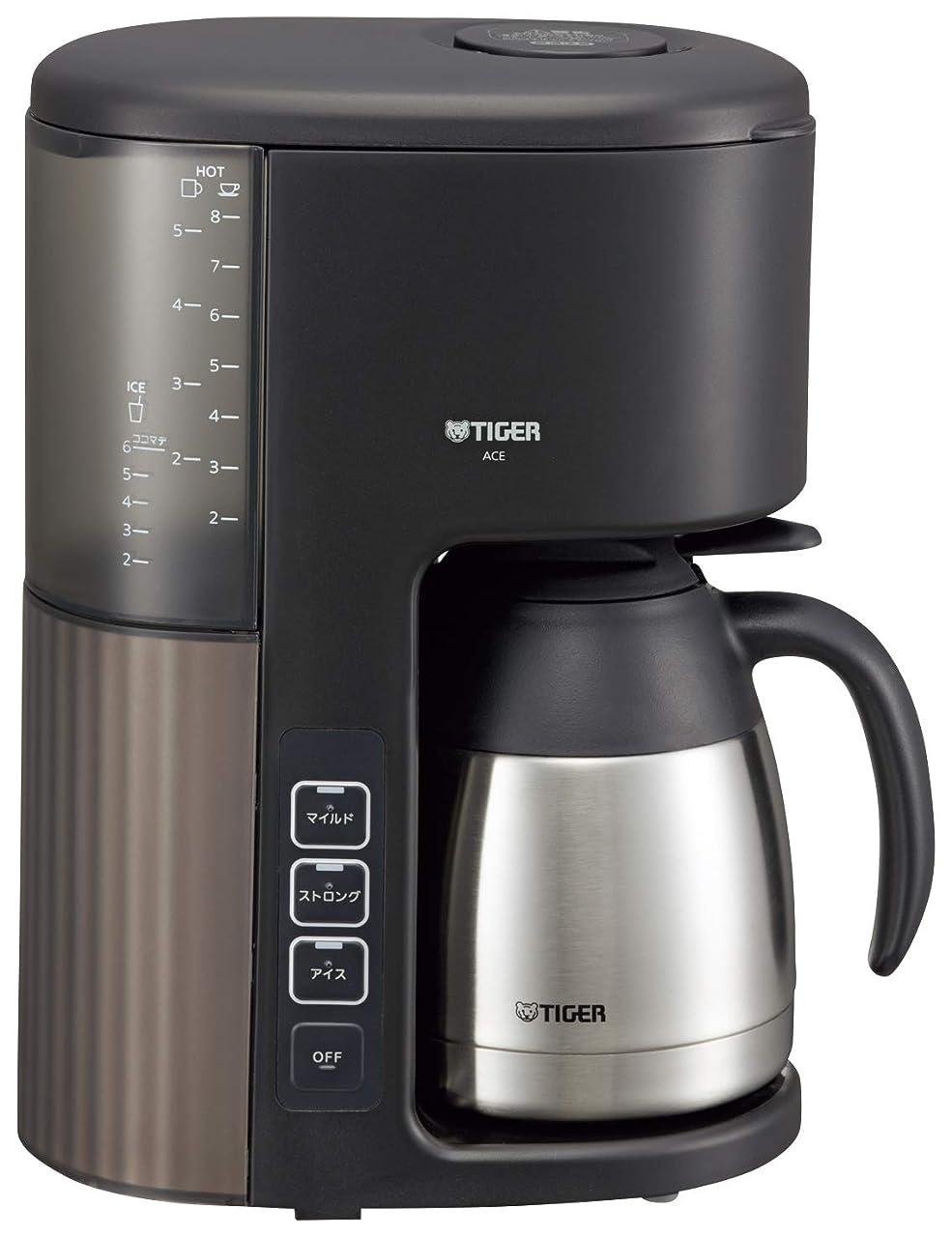 予算千砦タイガー コーヒーメーカー 8杯用 真空 ステンレス サーバー アイス機能付き カフェブラック ACE-S080KQ