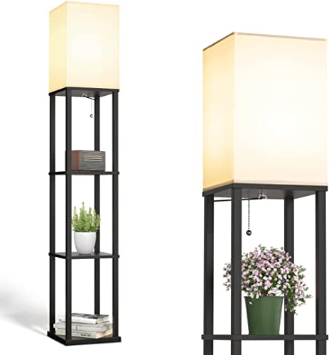 addlon LED Modern Shelf Floor Lamp with White Lamp Shade and LED Bulb - Display Floor Lamps with Shelves for Living R...