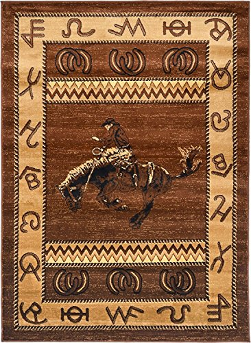 """Rugs 4 Less Collection Cowboy Horse Western Cabin Style Lodge Area Rug Design R4L 370 (5'2""""X7'3"""")"""