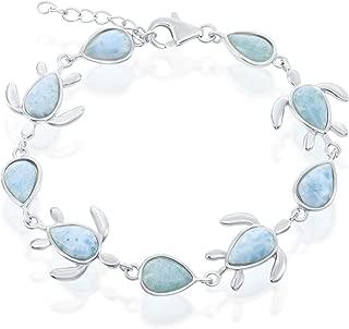 Sterling Silver Turtle & Pear-Shaped Natural Larimar Link Bracelet