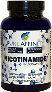 B3 Nicotinamide 500 mg Effective Flush-Free Niacin. Energy Booster, Cell Regenerator, That Supports Cogniti...