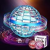 Flynova pro, orbe de mosca giratorio de 360 ° con luces, orbe volador en 3 colores, adecuado para juegos de niños y descompresión de adultos (interior y exterior) (Azul)