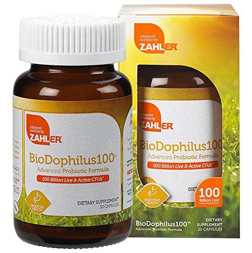 Zahler Biodophilus100, All Natural Advanced Probiotic Acidophilus Supplement, Promotes Digestive Health, 100 Billion Live Cultures and Intestinal Flora Per Serving, Certified Kosher,30 Capsules