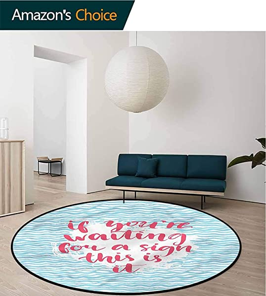 RUGSMAT Motivational Area Rugs Ring 3D Non Slip Rug Brush Calligraphy Circle Rugs For Living Room Round 31
