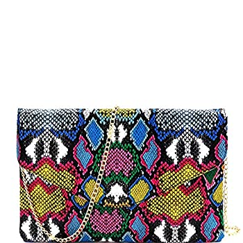 Snake Print Leather Envelope Clutch Purse with Crossbody Chain Strap  Envelope Style - Multi