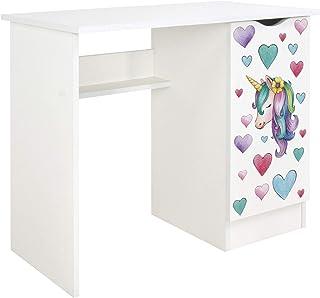 Leomark Confortable Bureau pour Enfants avec étagère - Roma - Blanc Meuble pour Chambre d'enfant, Equipement de Salle, Sty...