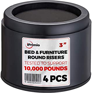 "iPrimio Bed and Furniture Risers – Round Elevator up to 3"" & Lifts Up to 10,000 LBs - Protect Floors and Surfaces – Durable ABS Plastic and Anti Slip Foam Grip – Non Stackable"
