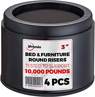 """iPrimio Bed and Furniture Risers – 4 Pack Round Elevator up to 3"""" & Lifts Up to 10,000 LBs - Protect Floors and Surfaces – Durable ABS Plastic and Anti Slip Foam Grip – Non Stackable – Black"""