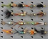 Summer Nymphs Fliegen Flies Angelfliegen Fliegensortiment 6 Muster mit Box