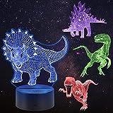 Huanchenda 3D Ilusión Luz de Noche de Dinosaurio, 4 Patrón 16 Cambios de Colores Ilusión Lámpara Dinosaurio para Decoración de Dormitorio