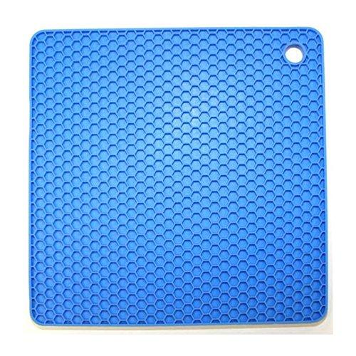 Kochblume Silikon Topflappen/Topfuntersetzer Waben eckig (blau)