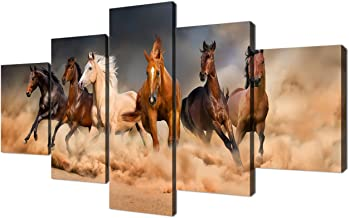 Yatsen Bridge Running Horses Posters and Prints Painting Pictures Wall Art for Living Room Home Decor Gallery-Wrapped Modern Landscape Canvas Art 5 Piece Set Framed (60''W x 32''H)