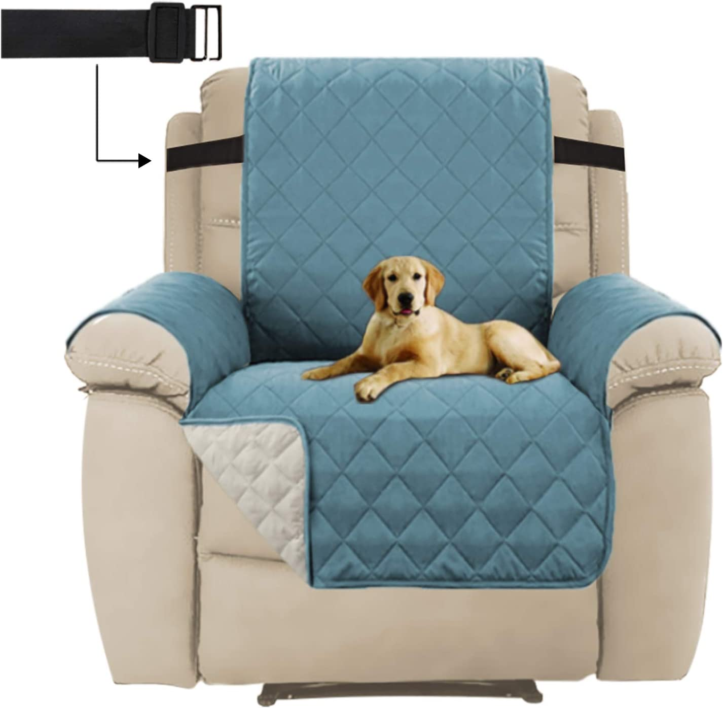 Seat Width Up to 30 Furniture Protector with 2 Elastic Straps H.Versailtex Reversible Recliner Chair Cover Furniture Protector Recliner, Citadel//Beige Water Repellent Recliner Chair Cover