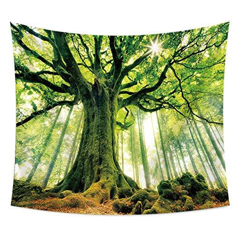 nobranded Tapiz Forestal Pintura Colgante Mantel Toalla de Playa Tela Decorativa Verde Bosque Tapiz para habitación