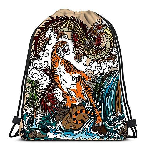 Mochila con cordón Bolsas Dragón y tigre el paisaje Cascada Rocas Plantas...