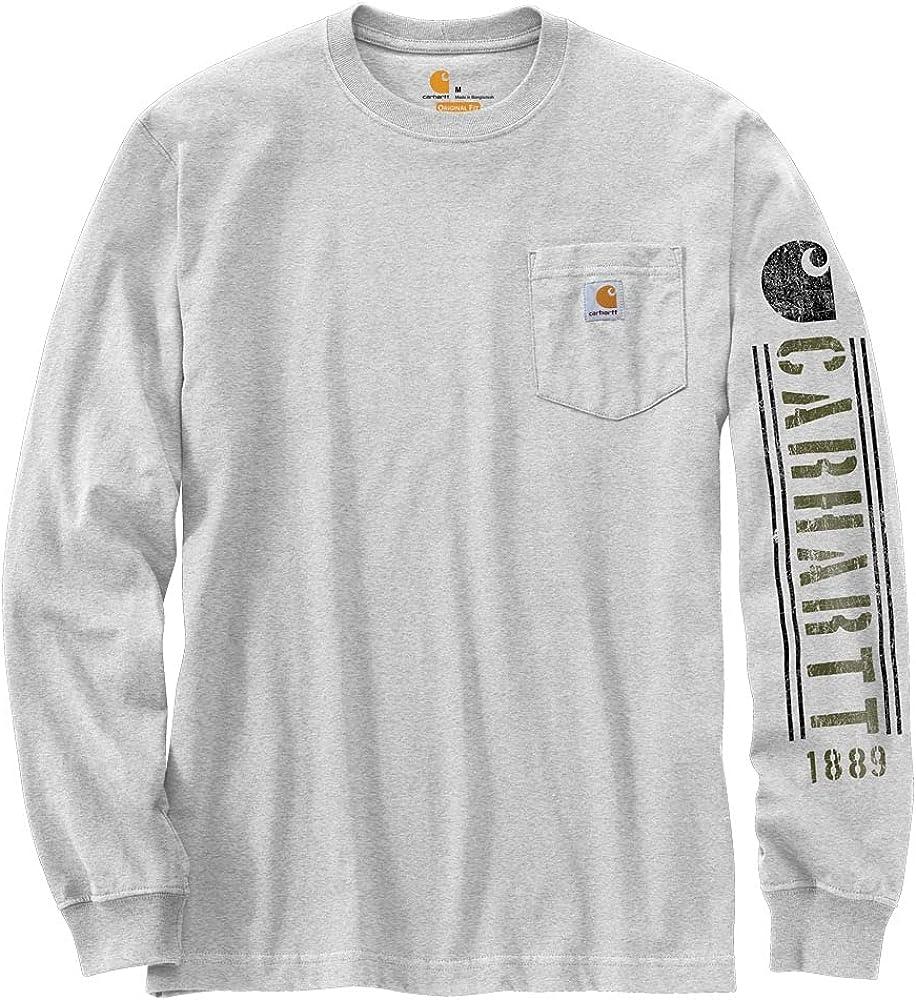 Carhartt Men's Relaxed Fit Heavyweight Long-Sleeve Pocket Logo Graphic T-Shirt