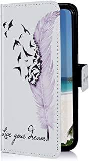 Uposao beschermhoes voor Samsung Galaxy S10, van PU-leer, met standfunctie, magnetisch, Samsung Galaxy S10e, Zwarte veer