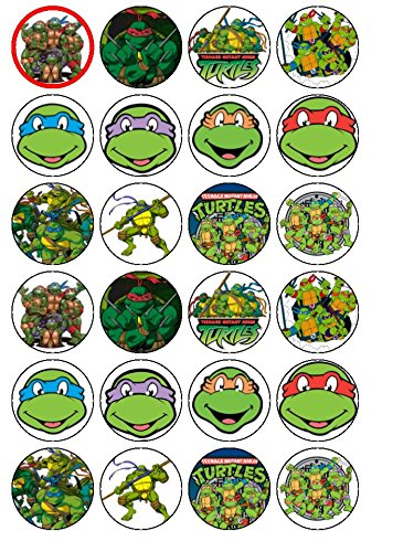 24 Teenage Mutant Ninja Turtles Edible Wafer Paper Cup Cake Toppers by CakeThat