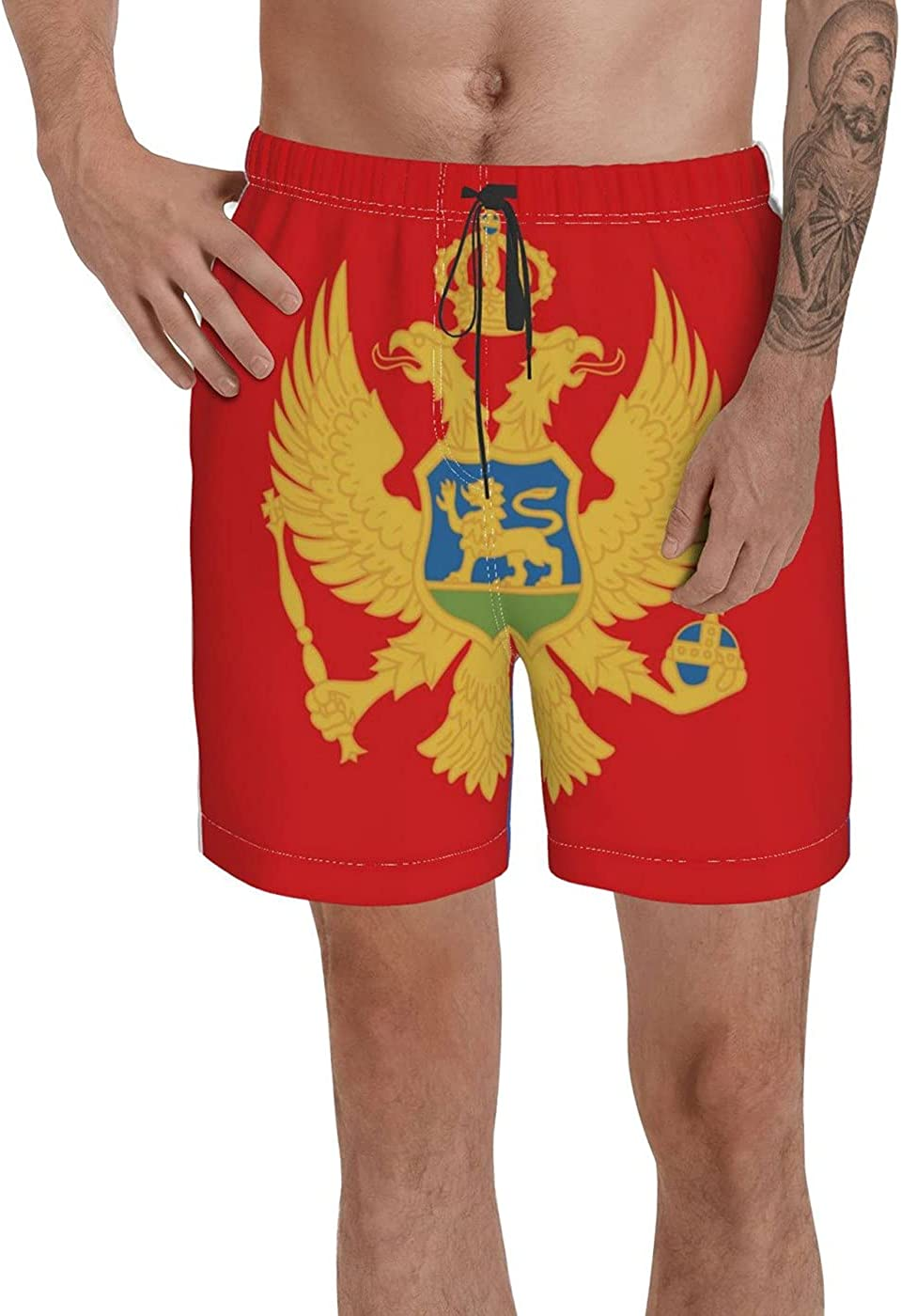 Count Montenegro Flag Men's 3D Printed Funny Summer Quick Dry Swim Short Board Shorts with