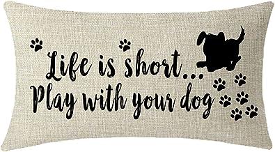 Niza regalo con cartel con texto letras todo lo que necesitas es amor y un perro luz azul manta funda de almohada Funda de cojín almohada para sofá hogar decorativo cuadrado 18