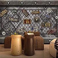 QQYYYT ウォールアートポスター-3Dレトロインダストリアルウィンドギアライセンスプレート3D壁紙壁画壁写真ポスター壁装飾絵画