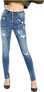 ZENTHACE Women's Mid Rise Skinny Cargo Jeans Ankle Length Denim Pants