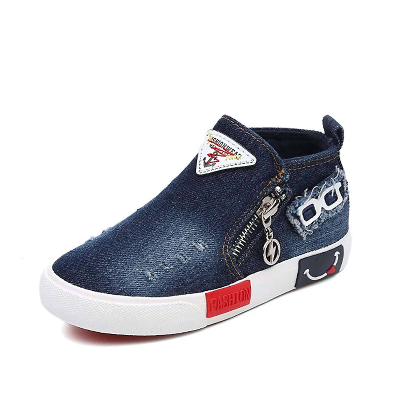 [XINXIKEJI] ハイカット 子供靴 ファスナー付き 女の子 男の子 ガールズ ボーイズ キッズシューズ ローカット スニーカー デッキシューズ 17.0-23.0cm 履きやすい 滑り止め 通気 軽い メガネ柄 コンフォート 可愛い 通学靴 運動靴