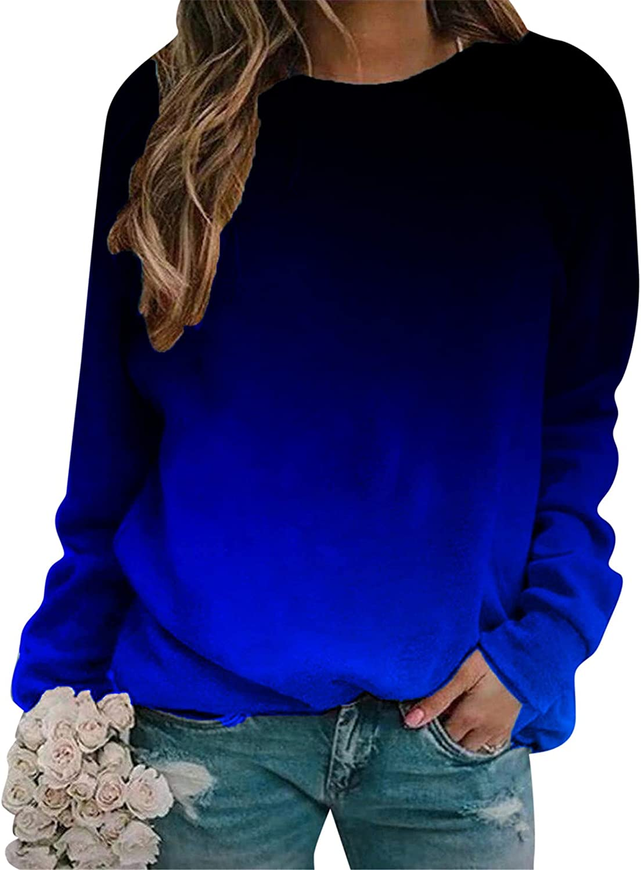 Womens Long Sleeve Tops,Womens Gradient Long Sleeve Trendy Pullover Loose Fit Comfy Tops Lightweight Sweatshirt