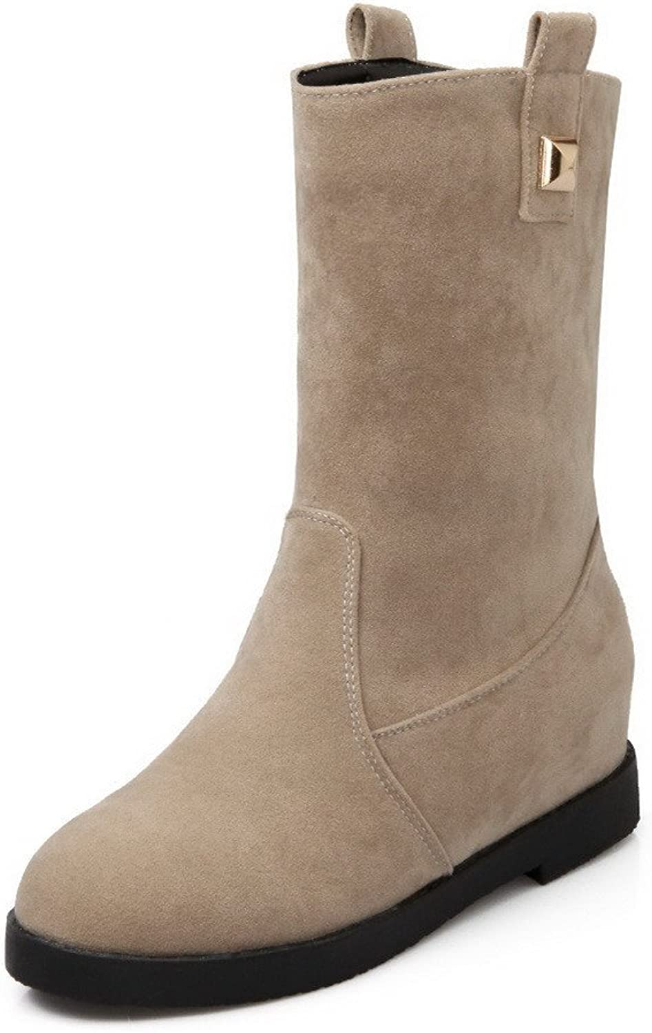 AllhqFashion Women's Pull On Round Closed Toe Kitten Heels Imitated Suede Mid Top Boots