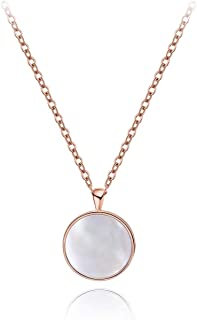 Sterling Silver Dainty Necklace Mother of Pearl Necklace Circle Disc Pendant Necklace